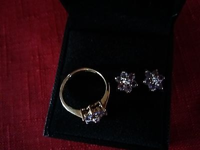 9 carat Gold Amethyst Ring and Earrings Set