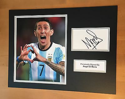 SIGNED ANGEL DI MARIA  PHOTO DISPLAY MOUNT 16x12 HAND SIGNED WITH COA