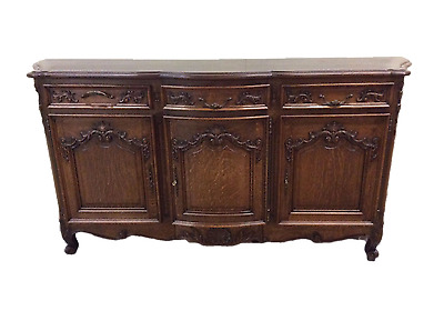 Antique French Country Server Sideboard Solid Oak Nicely Carved Model
