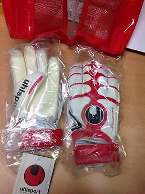 UHLSPORT Cerberus Soft Boys White Red Football Goalkeeper Gloves Size 5 6 7