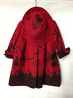 Red Two Piece Set Coat Hat Girls 2-3 yrs Couche Tot Festive Buttoned Fairy Tail