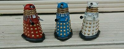 "Doctor Who 3.75""  Daleks Set Of Three Customs ...red....white......blue ...."