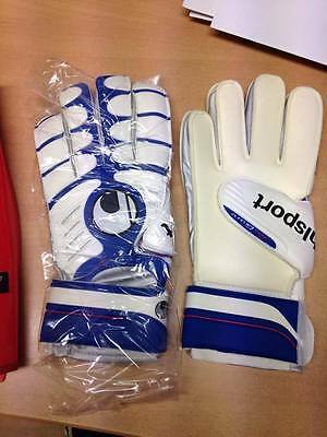 UHLSPORT Cerberus Soft Boys White Blue Football Goalkeeper Gloves Size 5 6 7