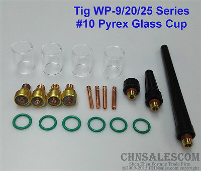 21 pcs TIG Welding Torch Gas Lens #10 Pyrex Glass Cup Kit for WP-9/20/25 Series