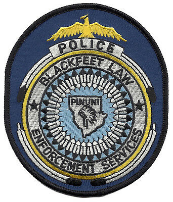 "Blackfeet Police Montana Shoulder Patch - 4 3/4"" tall x 4"" wide - NEW"