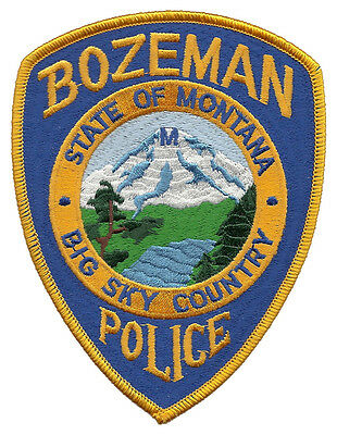 "Bozeman Police Big Sky Country Montana Shoulder Patch - 5"" tall by 3 3/4"" wide"