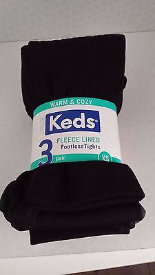 KEDS NEW WARM & COSY FLEECE LINED GIRLS FOOTLESS TIGHTS  Size XS Age 2-4 Years