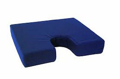 Comfortcare Coccyx Cushion with fitted Blue cover.