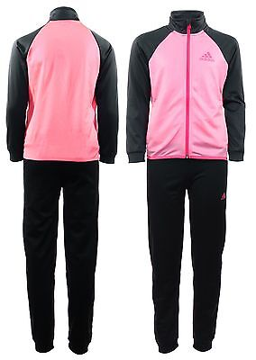 Adidas Girls Full Poly Tracksuit Pants Bottoms Jacket Top Black Grey Pink New