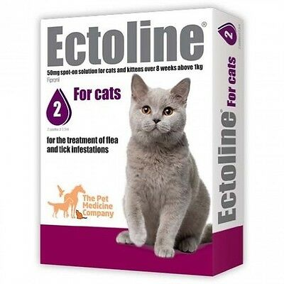 Ectoline Treatment Of Flea and Tick Infestations For Cats 2 pipettes 0.5ml