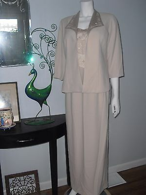 nwt KAREN MILLER Formal Mother-of-the-Bride/Groom CHAMPAGNE 2pc Jacket/Gown 14*