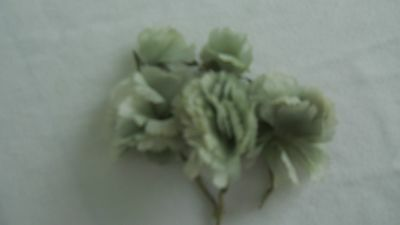 Antique Vintage 3 Piece  Millinery Flowers 1950's Green Tones Carnations