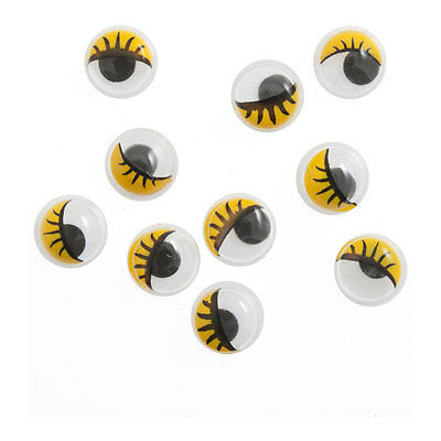 Toy Eyes: Googly with Lashes: Glue-On: 7mm: 500 Pack
