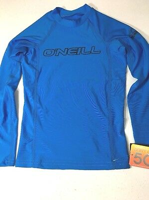 O'Neill Swim Shirt Wet Top Youth Size 10 Small UPF 50+ Long Sleeve Blue New NWT