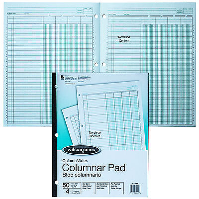 Wilson Jones G7204A Columnar Pad, 4 Column, Green Tint, Column Write 11 x 8-1/2""