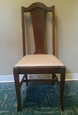 Vintage Antique English Gothic High Back Dining Chair Tudor Solid Wood Ivory EVC