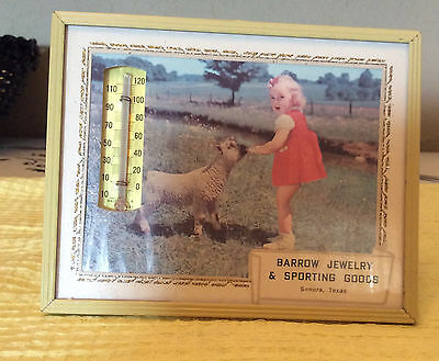 Vintage Framed1967Thermometer with Calendar Advertising Barrow Jewelry