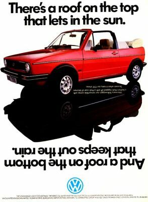 VW GOLF Cabriolet Mk1 Advertising Poster Volkswagen GTi convertible Picture