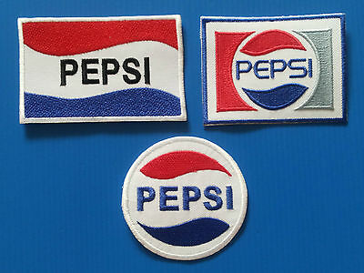 3 LOT PEPSI Embrodered Iron Or Sewn On Patches Free Ship
