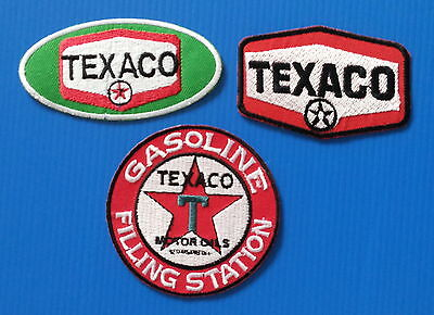 3 TEXACO GAS/OIL Average 3. Inch Embrodered Iron Or Sewn On Patches Free Ship