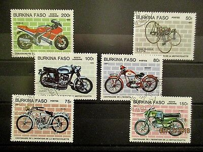 BURKINA FASO 1985 SELECTION OF 100th ANNIVERSARY OF MOTORCYCLE STAMPS.