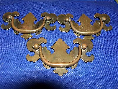 (3) Antique / Vintage Brass Drawer Pulls / Handles -- Screws Included