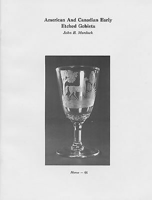 Antique American Canadian Glass - Early Etched Goblets / Illustrated Book