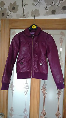 H & M Leather look girls jacket age 7-8 years