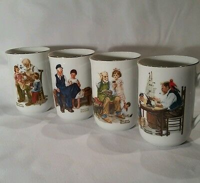 Norman Rockwell 1982 Collection Coffee Mugs Set of Four (4) White Porcelain