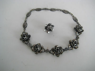 """Vtg Coro Craft Sterling Silver Roses Flowers Small 14"""" Necklace & 1 Earring"""