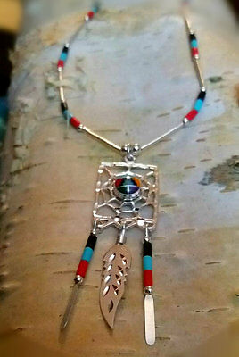 Native American Indian Jewelry genuine Zuni Web of Life sterling silver necklace