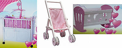 Dolls cot with Cupboard - Dolly Buggy of wood - Doll's cradle - Dolls bed