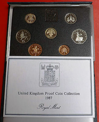 1987 Seven Coin Proof Set In Blue Box And Coa