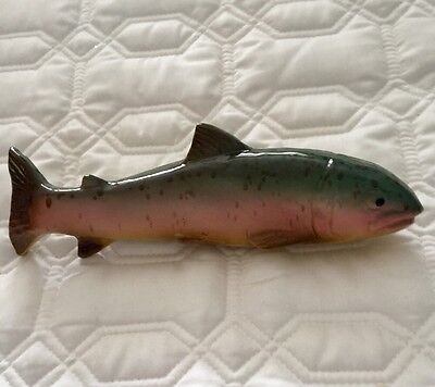 Handmade & Painted Glazed Ceramic Trout Fish Wall Art Fly Fishing