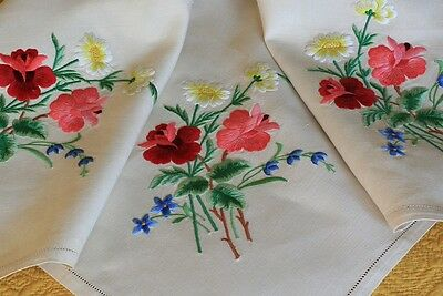 Vintage Cream Linen Tablecloth Raised Hand Embroidered Roses Flowers