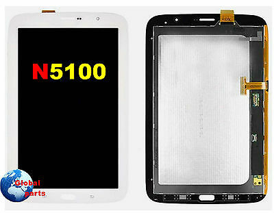 Display Lcd + Vetro Touch Screen Bianco Samsung Galaxy Note 8 N5100