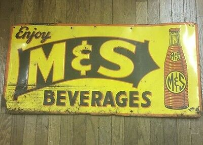 VINTAGE M & S Beverages Embossed Graphic Tin Soda Pop Advertising Sign