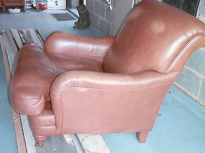 Marks Spencers distressed tan leather club chair