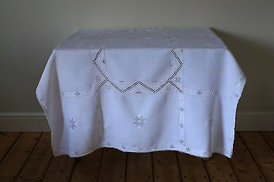 Vintage White Linen Embroidered Tablecloth Scandinavian Style Christmas Star