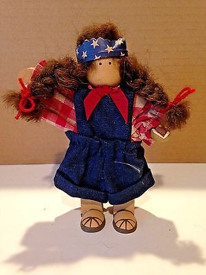 """Lizzie High The Little Ones 4th of July Doll Girl 6"""" Tall  holding a hot dog"""