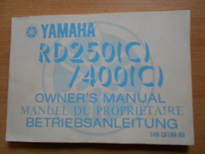 Driver's guide owner`s manual Yamaha RD 250 400 (C) 1AO manuel you proprietaire