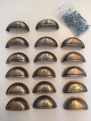 Vintage Country Style Polished Brass Cabinet Drawer Bin Pull  Lot Of 17