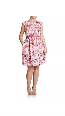 Dress Eliza J.Fit and Flare Pink Floral Print Belted  Pockets Sleeveless.SZ 14W