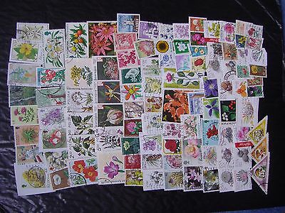 100 Flowers & Plants & Trees ~ Used Stamps