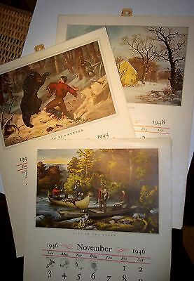 Vintage 1940's Currier & Ives Print Wall Calendar~Travelers Insurance Co