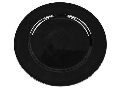 "72 pcs 13"" BLACK ACRYLIC CHARGER PLATES Wedding Reception Dinner Supplies"
