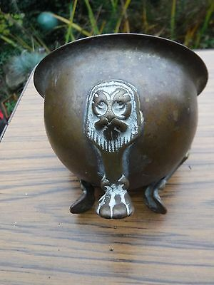 Antique Chinese Bronze/brass? Censer Bowl  with Lions Tripod Feet