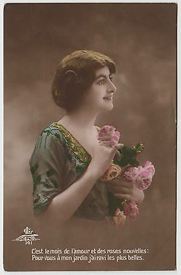 FRENCH POSTCARD - glamour, beautiful lady holding flowers, tinted real photo RP