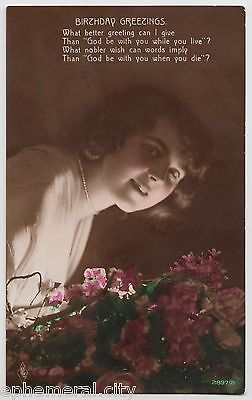 POSTCARD - glamour, beautiful lady with flowers, birthday greeting, real photo