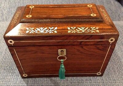 Antique Rosewood & Mother Of Pearl Inlaid Twin Division Tea Caddy.